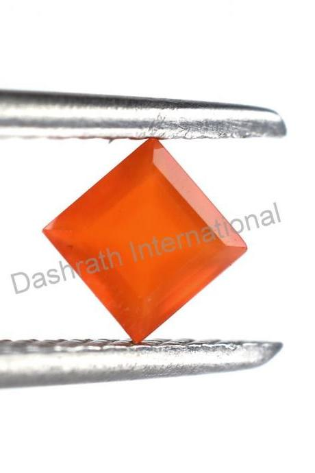 8mm Natural Carnelian Faceted Cut Square 10 Pieces Lot Calibrated Size Top Quality Orange Color Loose Gemstone