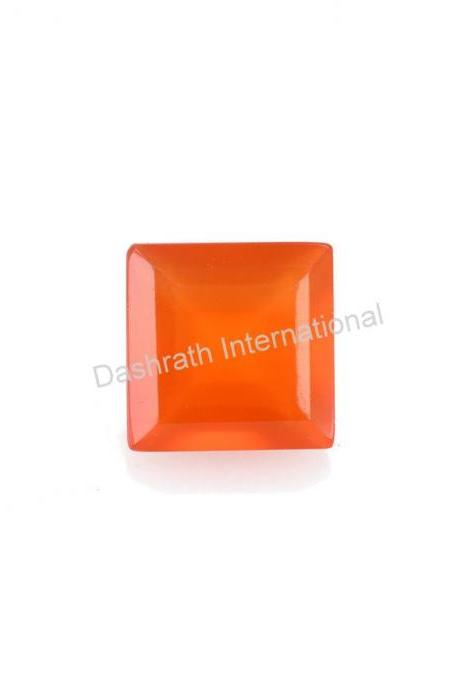 10mm Natural Carnelian Faceted Cut Square 50 Pieces Lot Calibrated Size Top Quality Orange Color Loose Gemstone
