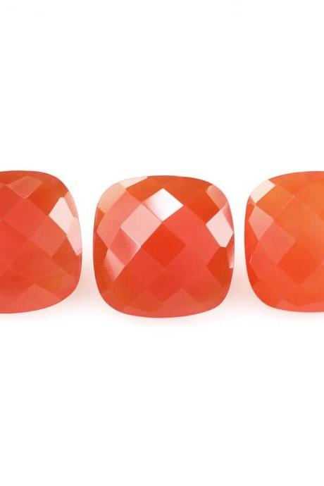 6mm Natural Carnelian Checkerboard Cut Cushion 25 Pieces Lot Calibrated Size Top Quality Orange Color Loose Gemstone