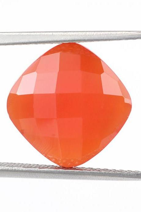 9mm Natural Carnelian Checkerboard Cut Cushion 1 Piece Calibrated Size Top Quality Orange Color Loose Gemstone