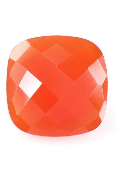 10mm Natural Carnelian Checkerboard Cut Cushion 1 Piece Calibrated Size Top Quality Orange Color Loose Gemstone