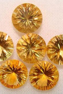 5mm Natural Citrine Concave Cut Round 5 Pieces Lot Calibrated Size Top Quality yellow Color Loose Gemstone