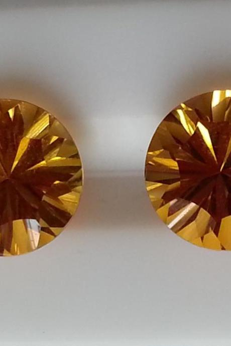 10mm Natural Citrine Concave Cut Round 25 Pieces Lot Calibrated Size Top Quality yellow Color Loose Gemstone