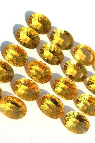 3x4mm Natural Citrine Concave Cut Oval 5 Pieces Lot Calibrated Size Top Quality yellow Color Loose Gemstone