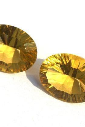 7X9mm Natural Citrine Concave Cut Oval 2 Pieces (1 Pair) Calibrated Size Top Quality yellow Color Loose Gemstone
