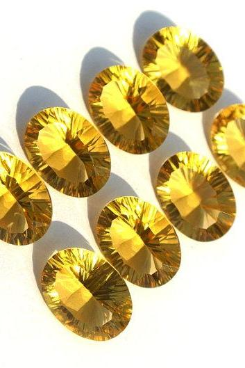 10X12mm Natural Citrine Concave Cut Oval 2 Pieces (1 Pair) Calibrated Size Top Quality yellow Color Loose Gemstone