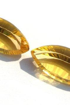 2x4mm Natural Citrine Concave Cut Marquise 2 Pieces (1 Pair) Calibrated Size Top Quality yellow Color Loose Gemstone