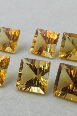 7mm Natural Citrine Concave Cut Square 2 Piece (1 Pair) Calibrated Size Top Quality yellow Color Loose Gemstone