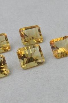9x7mm Natural Citrine Concave Cut Octagon 25 Pieces Lot Calibrated Size Top Quality yellow Color Loose Gemstone