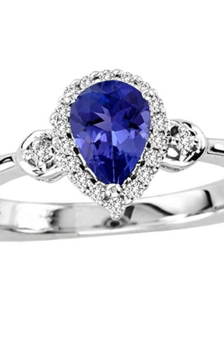 Sterling Silver Ring With Genuine Natural Tanzanite 7x5mm Pear Cut And White Topaz Gemstone Ring