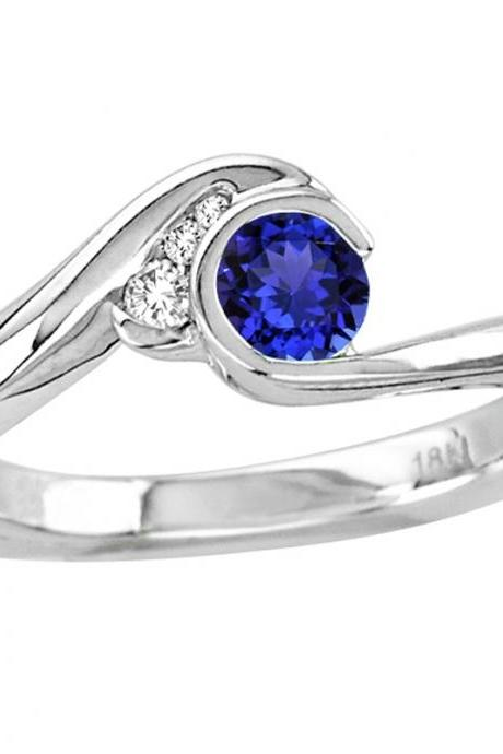Sterling Silver Ring With Genuine Natural Tanzanite 4.5mm Round Cut And White Topaz Gemstone Ring