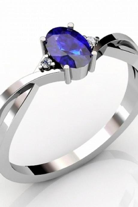 Sterling Silver Ring With Genuine Natural Tanzanite 6.5x4.5mm Oval Cut And White Topaz Gemstone Ring