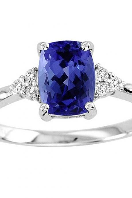 Sterling Silver Ring With Genuine Natural Tanzanite 6x8mm Cushion Cut And White Topaz Gemstone Ring