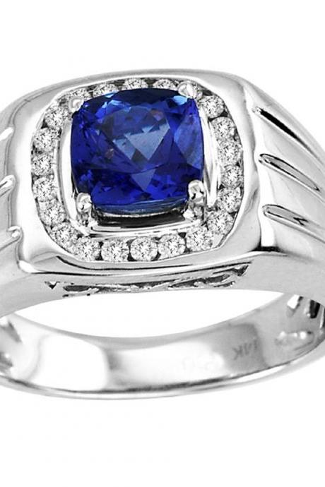 Sterling Silver Ring With Genuine Natural Tanzanite 6.5mm Cushion Cut And White Topaz Gemstone Ring
