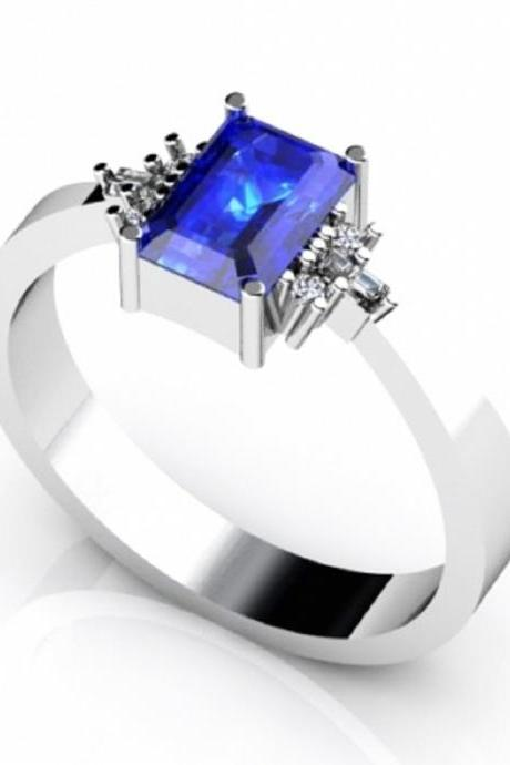 Sterling Silver Ring With Genuine Natural Tanzanite 7x5mm Emerald Cut And White Topaz Gemstone Ring