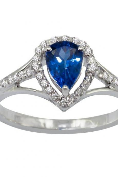 925 Sterling Silver Ring With Genuine Natural Tanzanite 7x5mm Pear Cut And White Topaz Gemstone Ring