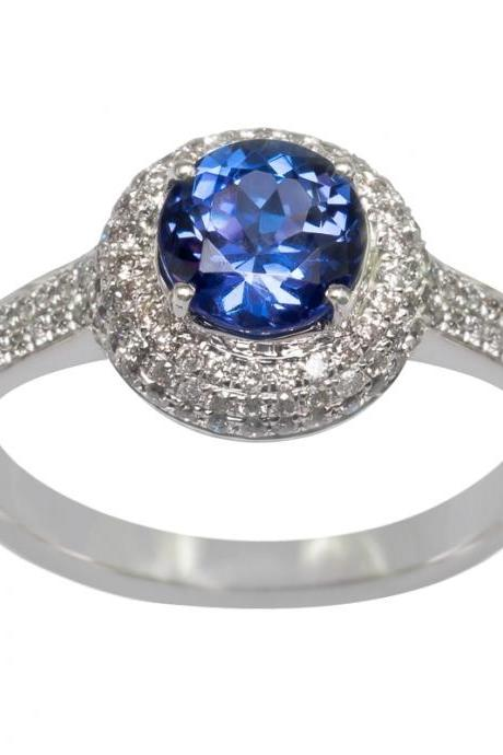 925 Silver Ring With Genuine Natural Tanzanite 6.5mm Round Cut And White Topaz Gemstone Ring