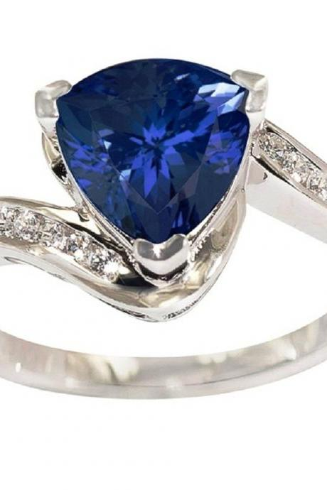 925 Silver Ring With Genuine Natural Tanzanite 8mm Trillion Cut And White Topaz Gemstone Ring