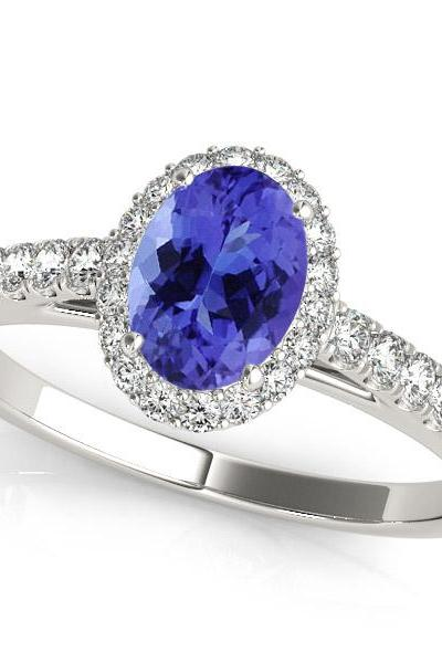 925 Silver Ring With Genuine Natural Tanzanite 7x5mm Oval Cut And White Topaz Gemstone Ring