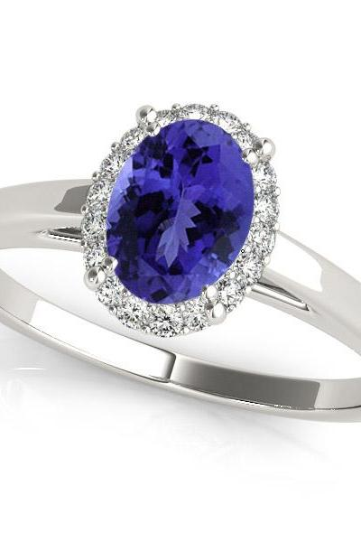 925 Silver Ring With Genuine Natural Tanzanite 5x7mm Oval Cut And White Topaz Gemstone Ring