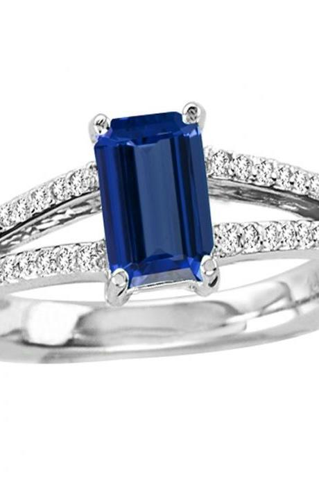 Sterling Silver Ring With Genuine Natural Tanzanite 5x7mm Octagon Cut And White Topaz Gemstone Ring