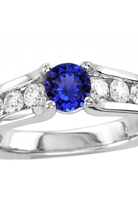 925 Sterling Silver Ring With Genuine Natural Tanzanite 5mm Round Cut And White Topaz Gemstone Ring