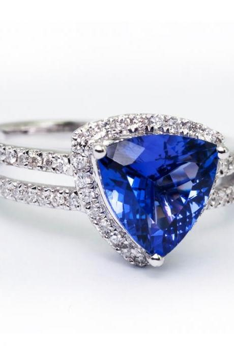 925 Sterling Silver Ring With Genuine Natural Tanzanite 8.5mm Trillion Cut And White Topaz Gemstone Ring