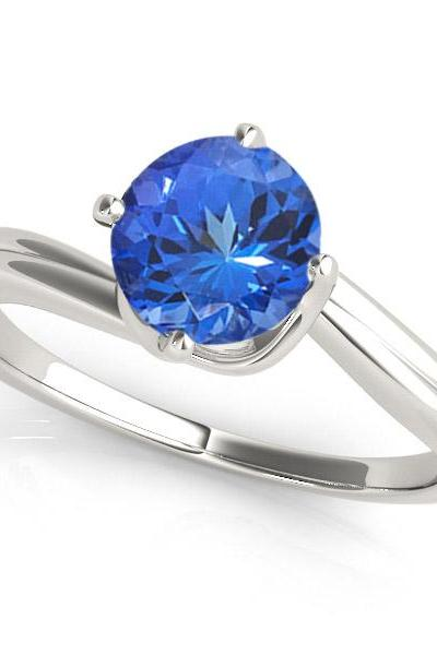 Sterling Silver Ring With Genuine Natural Tanzanite 6mm Round Cut Gemstone Ring