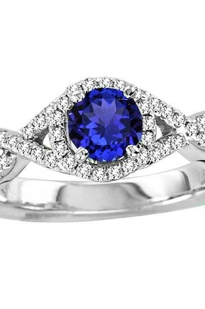 925 Sterling Silver Ring With Genuine Natural Tanzanite 5.5mm Round Cut And White Topaz Gemstone Ring