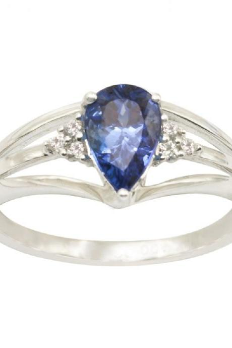925 Sterling Silver Ring With Genuine Natural Tanzanite 8x5mm Pear Cut And White Topaz Gemstone Ring