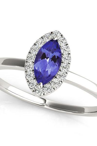 Sterling Silver Ring With Genuine Natural Tanzanite 3.5x7mm Marquise Cut And White Topaz Gemstone Ring
