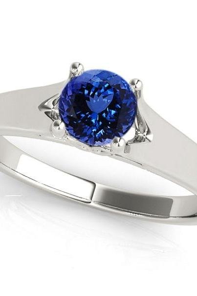 925 Sterling Silver Ring With Genuine Natural Tanzanite 6mm Round Cut Gemstone Ring