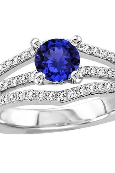 Sterling Silver Ring With Genuine Natural Tanzanite 6mm Round Cut And White Topaz Gemstone Ring