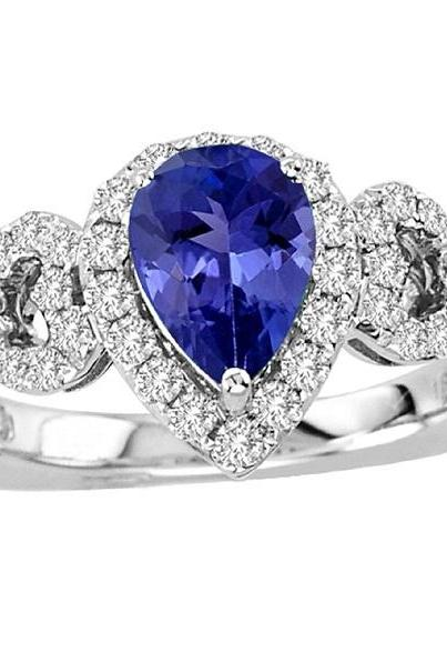 Silver Ring With Genuine Natural Tanzanite 7x5mm Pear Cut And White Topaz Gemstone Ring