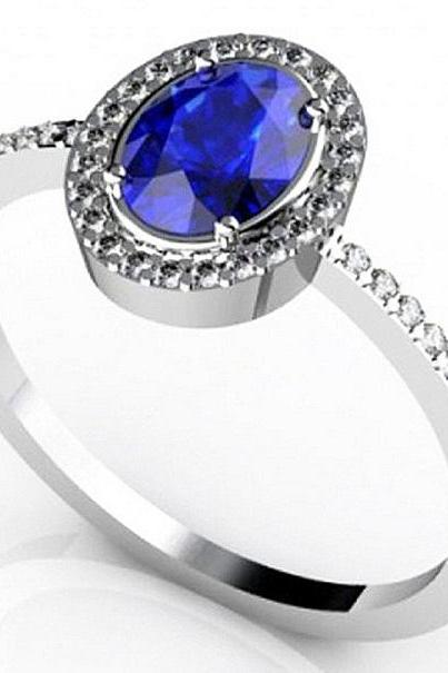 925 Sterling Silver Ring With Genuine Natural Tanzanite 7x5mm Oval Cut And White Topaz Gemstone Ring