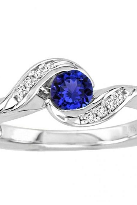 925 Sterling Silver Ring With Genuine Natural Tanzanite 4.5mm Round Cut And White Topaz Gemstone Ring