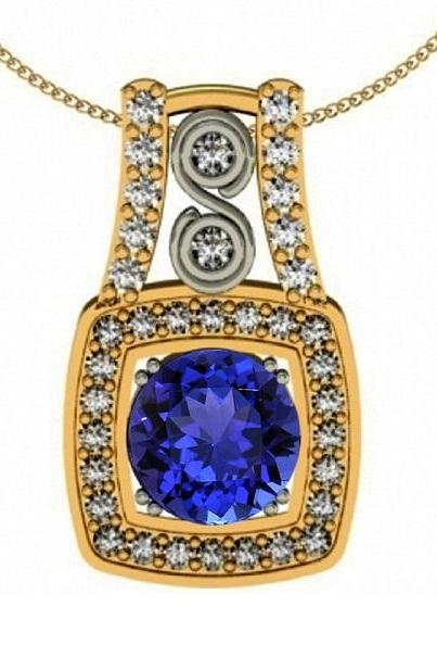 Sterling Silver With Yellow Rhodium Pendant With Genuine Natural Tanzanite 7mm Round Cut And White Topaz Gemstone Pendant