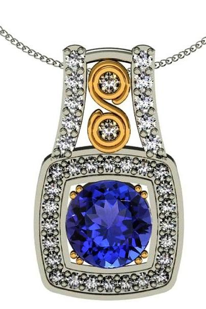 Sterling Silver Pendant With Genuine Natural Tanzanite 7mm Round Cut And White Topaz Gemstone Pendant