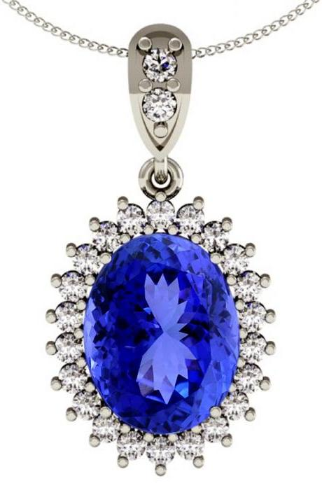 Sterling Silver Pendant With Genuine Natural Tanzanite 8x6mm Oval Cut And White Topaz Gemstone Pendant