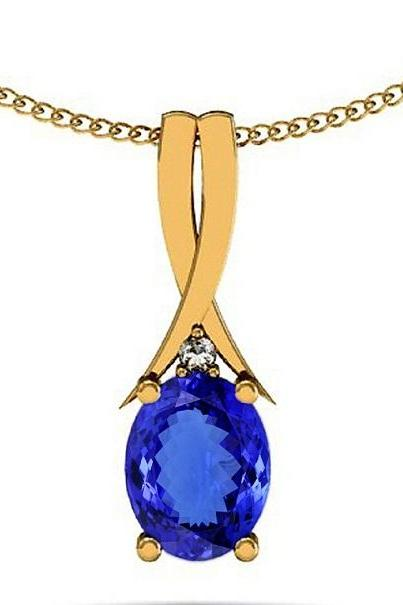 925 Silver With Yellow Rhodium Pendant With Genuine Natural Tanzanite 4x5mm Oval Cut And White Topaz Gemstone Pendant