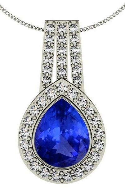 925 Sterling Silver Pendant With Genuine Natural Tanzanite 8x10mm Pear Cut And White Topaz Gemstone Pendant
