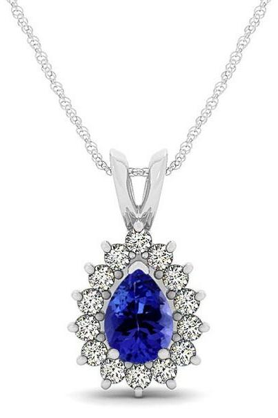 Sterling Silver Pendant With Genuine Natural Tanzanite 7x5mm Pear Cut And White Topaz Gemstone Pendant