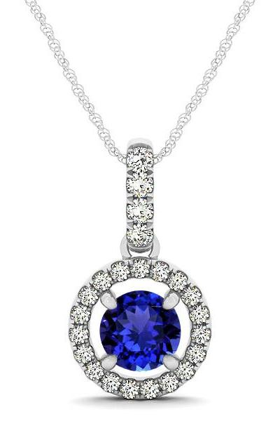 925 Silver Pendant With Genuine Natural Tanzanite 6mm Round Cut And White Topaz Gemstone Pendan