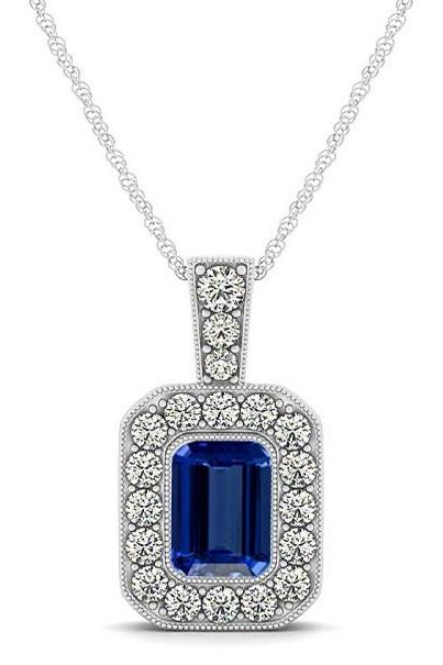 925 Silver Pendant With Genuine Natural Tanzanite 4x5mm Octagon Cut And White Topaz Gemstone Pendan