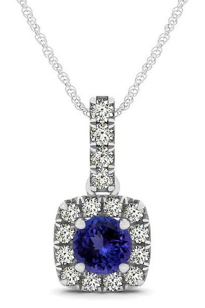 Silver Pendant With Genuine Natural Tanzanite 6mm Round Cut And White Topaz Gemstone Pendan
