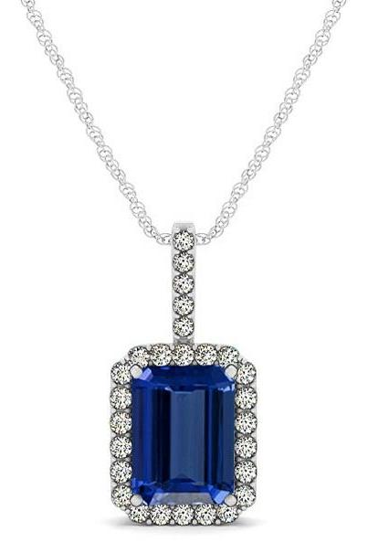925 Silver Pendant With Genuine Natural Tanzanite 6x8mm Octagon Cut And White Topaz Gemstone Pendan