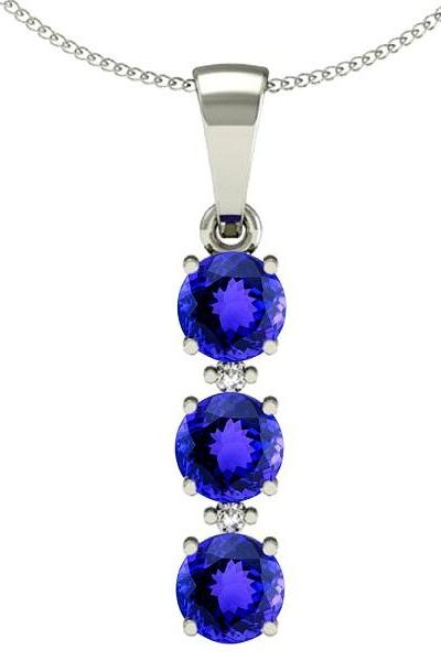 Sterling Silver Pendant With Genuine Natural Tanzanite 4mm Round Cut And White Topaz Gemstone Pendan