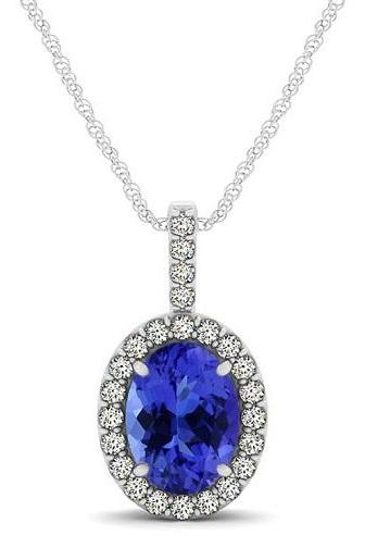 Silver Pendant With Genuine Natural Tanzanite 8x6mm Oval Cut And White Topaz Gemstone Pendan