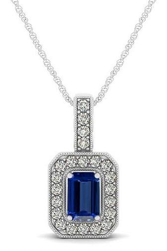 Silver Pendant With Genuine Natural Tanzanite 6x4mm Octagon Cut And White Topaz Gemstone Pendan