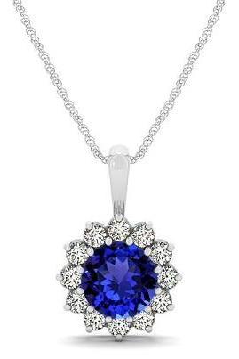 925sterling Silver Pendant With Genuine Natural Tanzanite 6mm Round Cut And White Topaz Gemstone Pendan